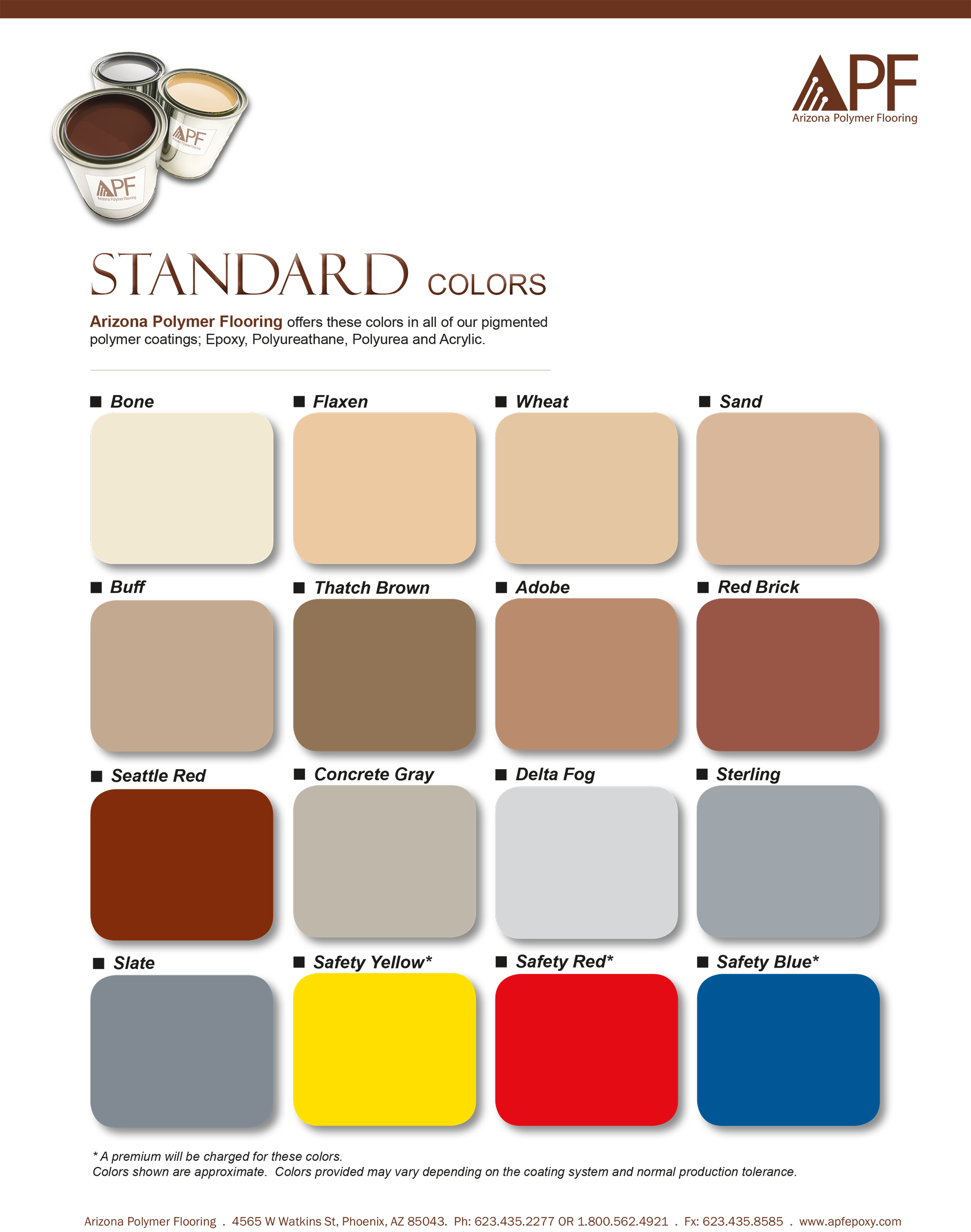 apf Standard Color Chart